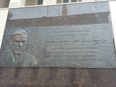 Memorial plaque with a bas-relief for Bronislovas Lubys
