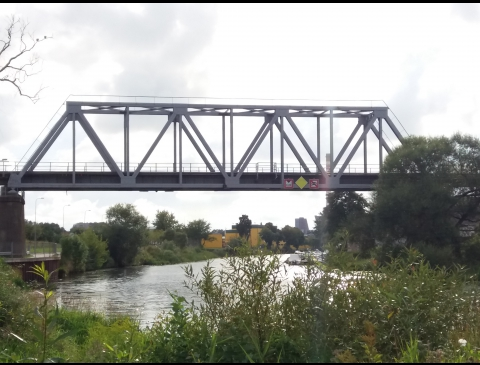 Geležinkelio tiltas per Dangės upę