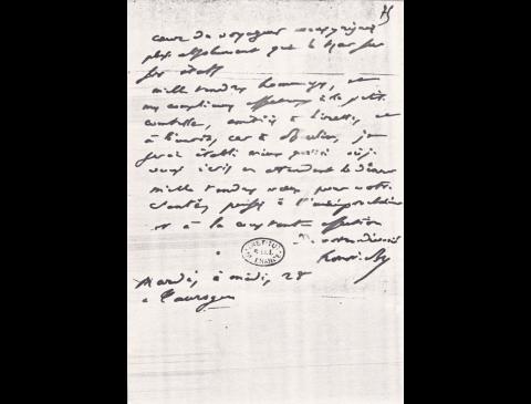 Onore de Balzako laiško, rašyto 1843 m. Tauragėje, faksimilė