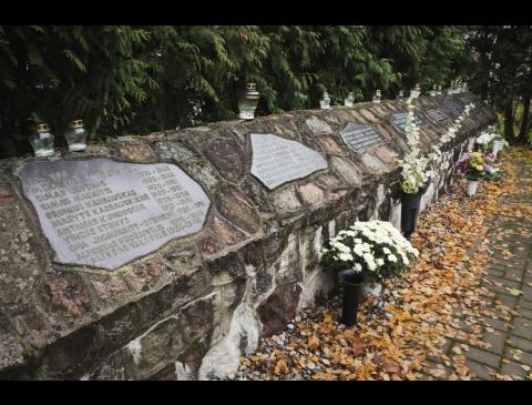 Atminimo siena kieme palaidotiems NKVD nukankintiems kovotojams