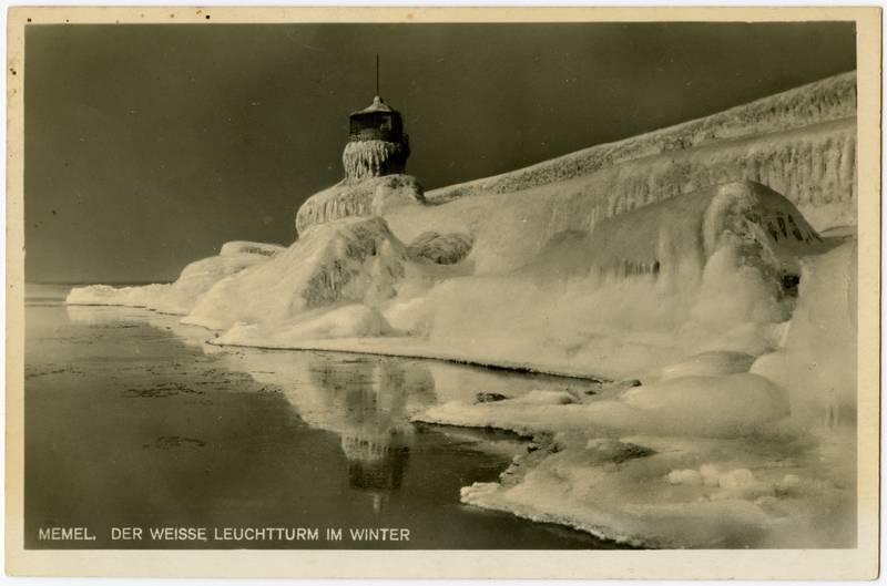 Memel. Der weisse Leuchtturm im Winter