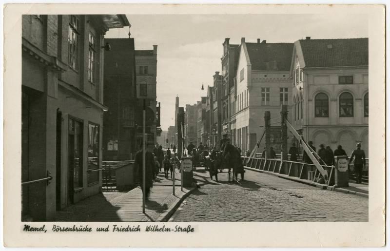 Memel, Börsenbrücke und Friedrich Wilhelm-Straße