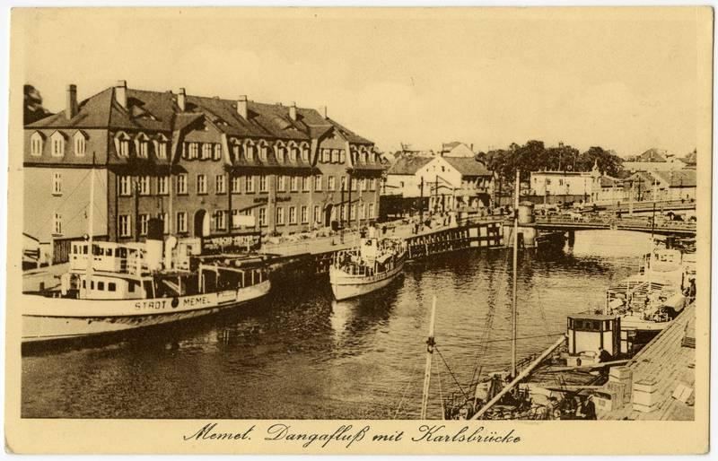 Memel. Dangafluß mit Karlsbrücke