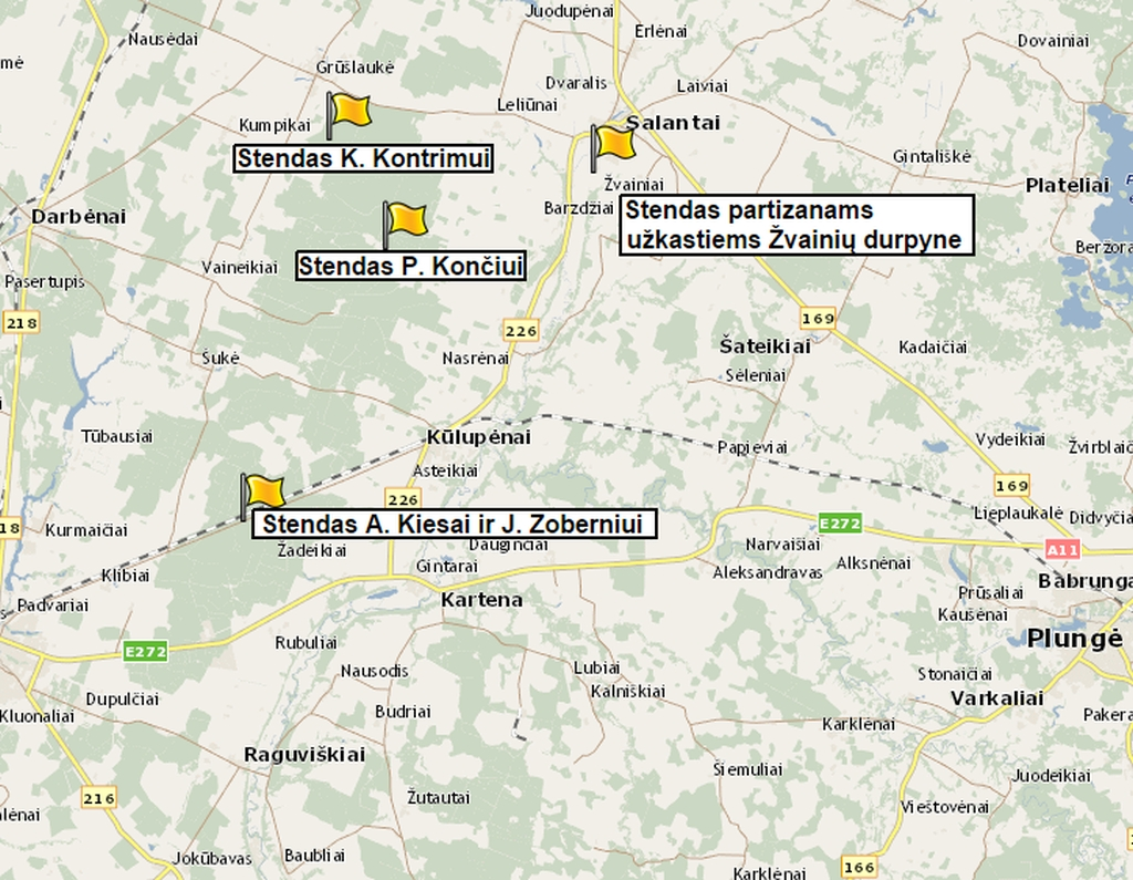 """Stendų, pastatytų projekto """"Atiduok Tėvynei, ką privalai!"""" metu Kretingos rajone, skirtų kovotojams už laisvę atminti, žemėlapis"""