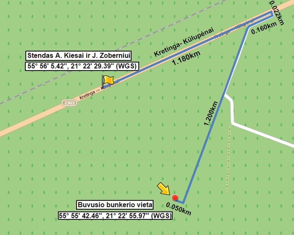Žemėlapis: Stendas Žemaičių apygardos Kardo rinktinės partizanams Augustinui Kiesui ir Juozapui Zoberniui atminti
